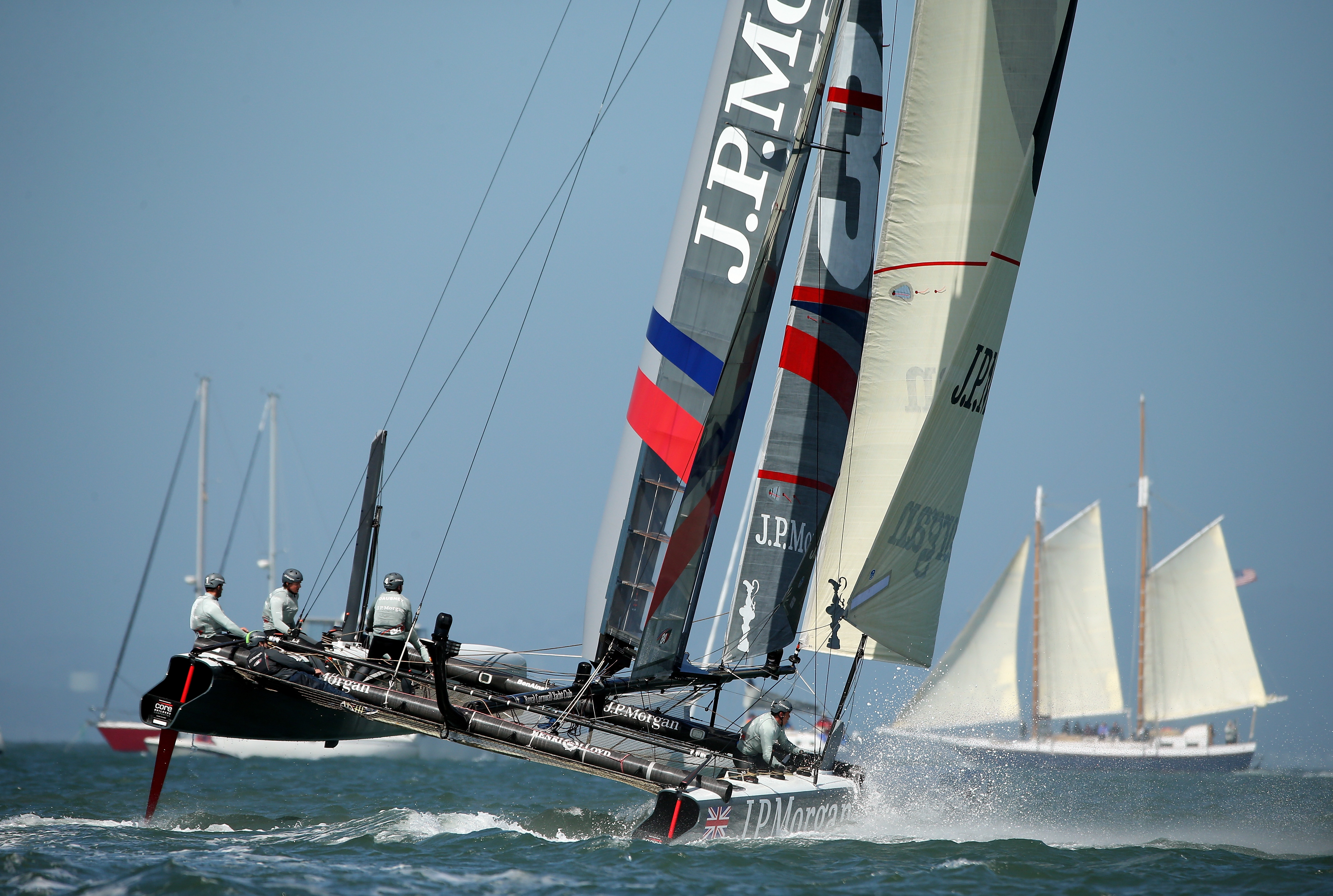 SAN FRANCISCO, CA - AUGUST 24:  J.P. Morgan BAR team skippered by Ben Ainslie competes in a match race during the America's Cup World Series on August 24, 2012 in San Francisco, California.  (Photo by Ezra Shaw/Getty Images)
